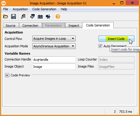 Figure 5: Generate HALCON code for acquiring images